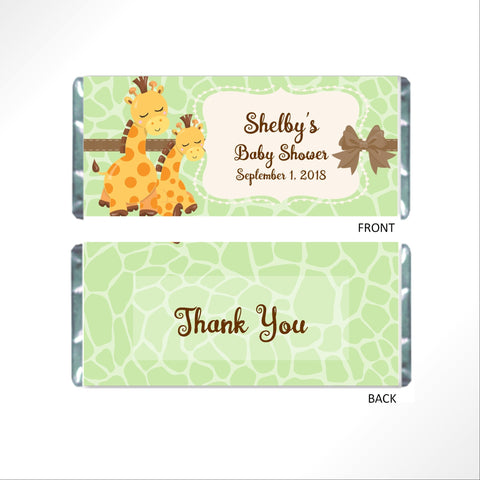 Giraffe Baby Shower Candy Bar Wrapper - Cathy's Creations - www.candywrappershop.com