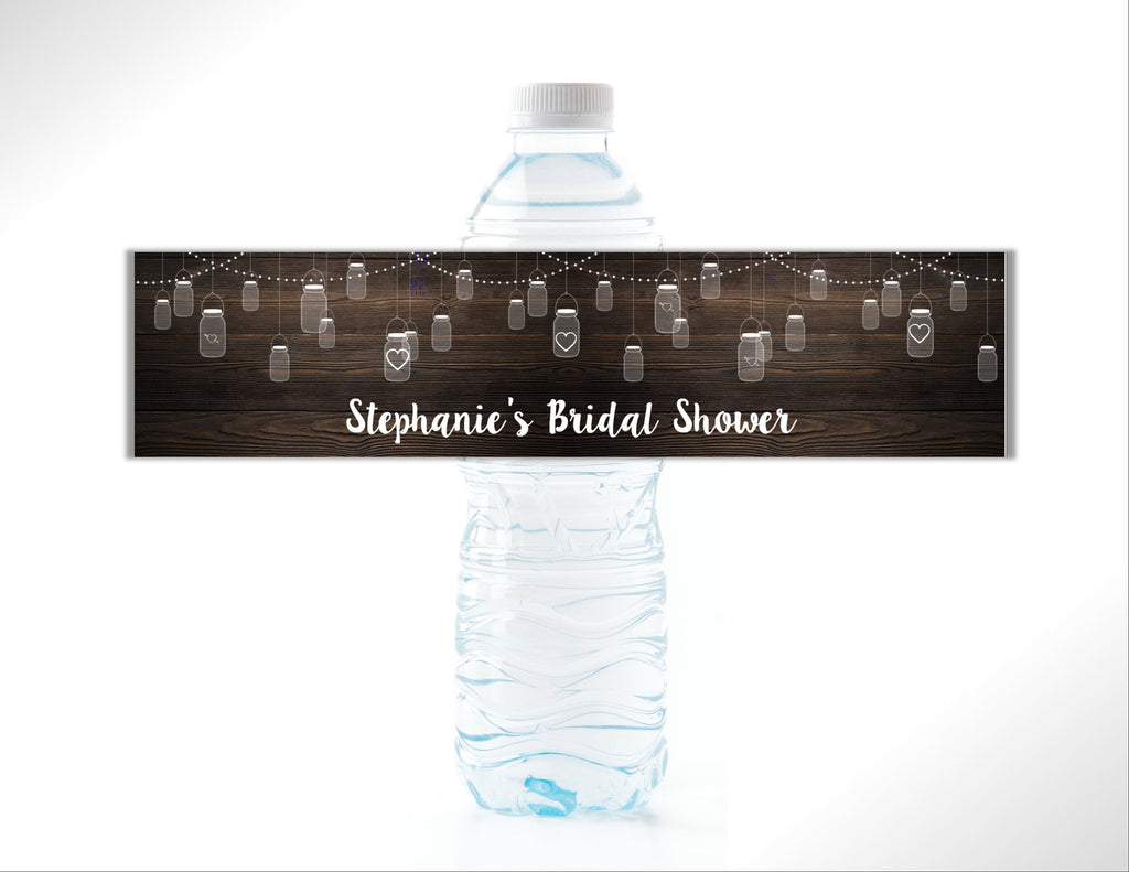 Rustic Mason Jar Water Bottle Labels - Cathy's Creations - www.candywrappershop.com