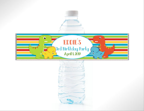 Dinosaur Water Bottle Labels - Cathy's Creations - www.candywrappershop.com