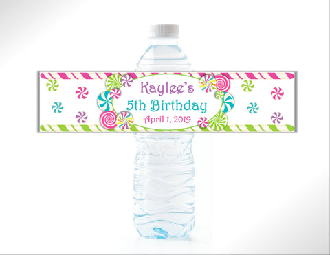 Candy Themed Water Bottle Labels Water Bottle Labels- Cathy's Creations - www.candywrappershop.com