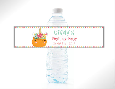 Pumpkin Unicorn Water Bottle Labels - Cathy's Creations - www.candywrappershop.com