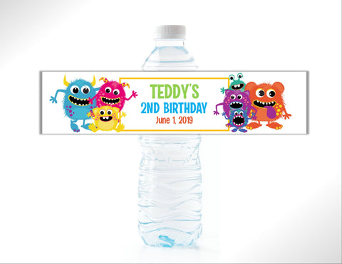 Monster Water Bottle Labels Water Bottle Labels- Cathy's Creations - www.candywrappershop.com
