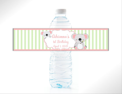 Koala Stripe Water Bottle Labels-Water Bottle Labels-Cathy's Creations - www.candywrappershop.com