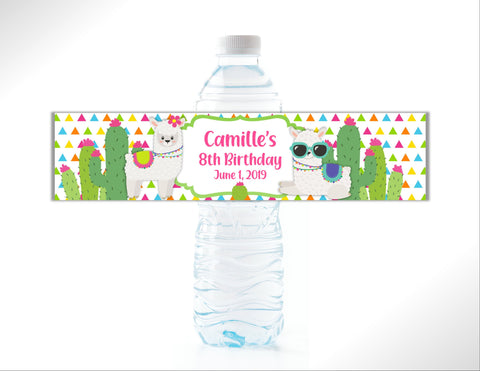 LLama and Cactus Water Bottle Labels - Cathy's Creations - www.candywrappershop.com