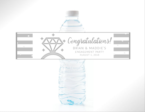 Engagement Ring Water Bottle Labels - Cathy's Creations - www.candywrappershop.com