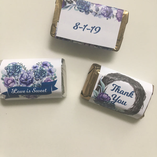Purple Floral Mini Candy Wrappers - Cathy's Creations - www.candywrappershop.com