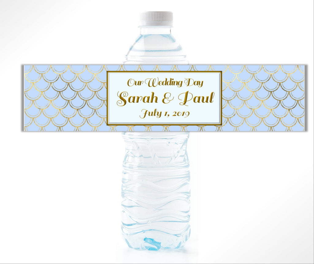Blue and Gold Art Deco style Water Bottle Labels - Cathy's Creations - www.candywrappershop.com