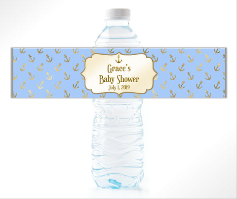 Gold Nautical Anchors Water Bottle Labels - Cathy's Creations - www.candywrappershop.com