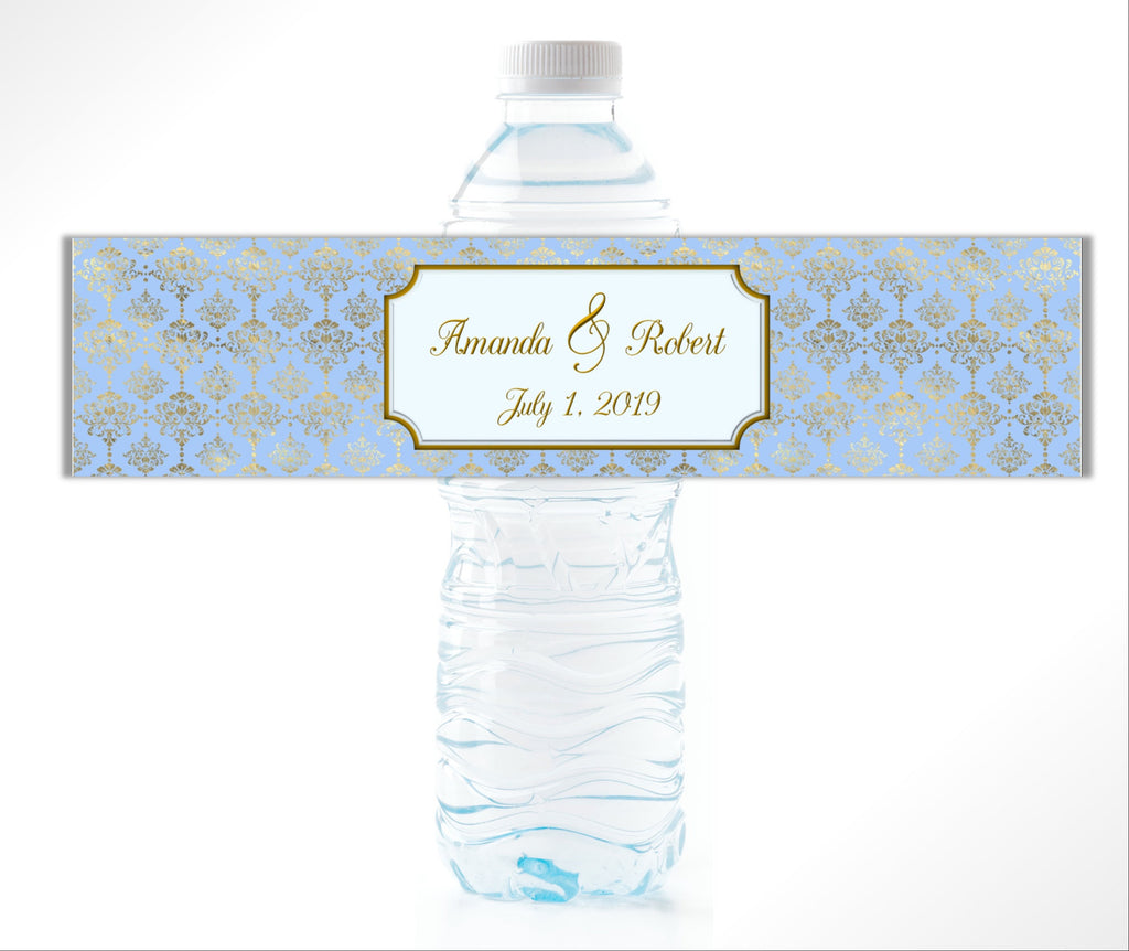 Blue Gold Damask Water Bottle Labels - Cathy's Creations - www.candywrappershop.com