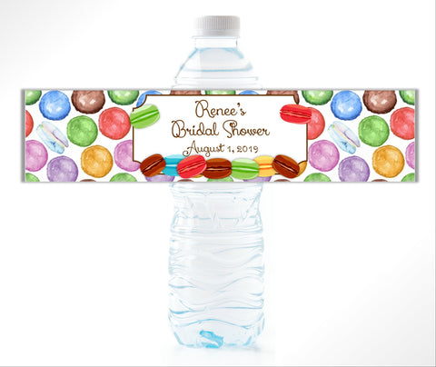 French Macaron Water Bottle Labels - Cathy's Creations - www.candywrappershop.com