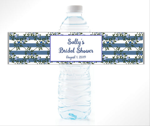 Floral Striped Water Bottle Labels-Water Bottle Labels-Cathy's Creations - www.candywrappershop.com