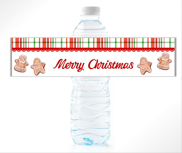 Christmas Plaid Water Bottle Labels - Cathy's Creations - www.candywrappershop.com
