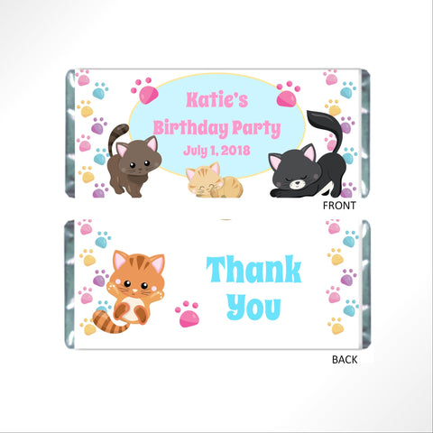 Cat Birthday Candy Bar Wrapper - Cathy's Creations - www.candywrappershop.com