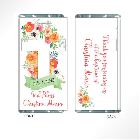 cathy-wraps - Floral Cross Candy Bar Wrapper - Candy Bar Wrapper