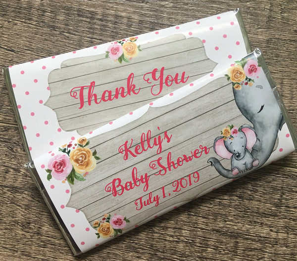 Elephant Baby Shower Candy Bar Wrapper - Cathy's Creations - www.candywrappershop.com