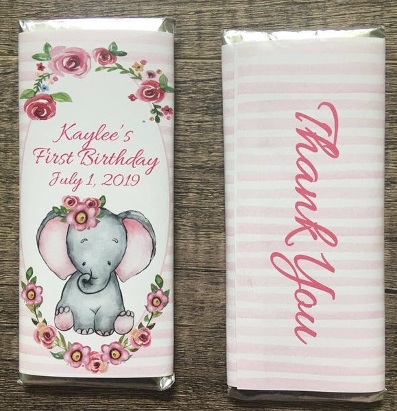 Elephant Floral Candy Bar Wrapper - Cathy's Creations - www.candywrappershop.com
