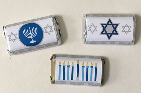 Hanukkah Mini Candy Wrappers Mini Candy Bar Wrapper- Cathy's Creations - www.candywrappershop.com