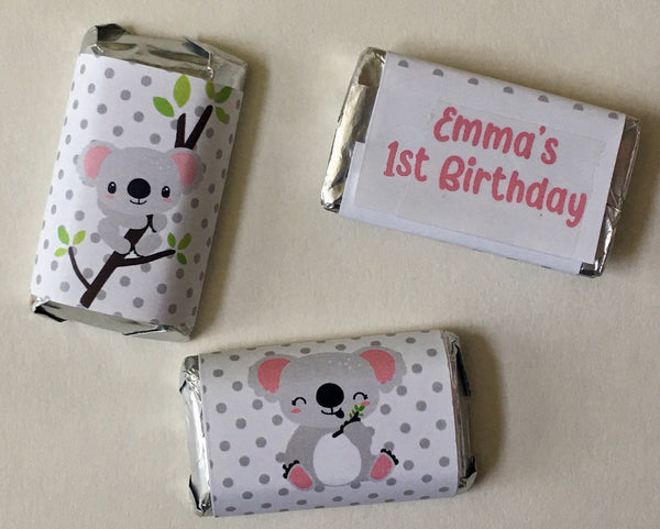 Koala Mini Candy Wrappers - Cathy's Creations - www.candywrappershop.com