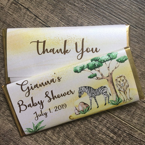Safari Animal Candy Bar Candy Bar Wrapper- Cathy's Creations - www.candywrappershop.com