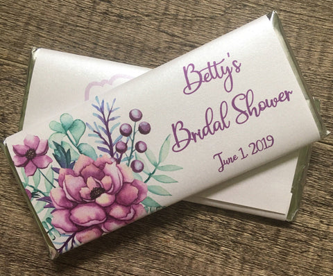 Purple Floral Candy Bar Candy Bar Wrapper- Cathy's Creations - www.candywrappershop.com