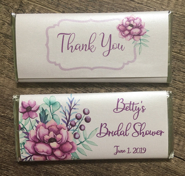 Purple Floral Candy Bar - Cathy's Creations - www.candywrappershop.com