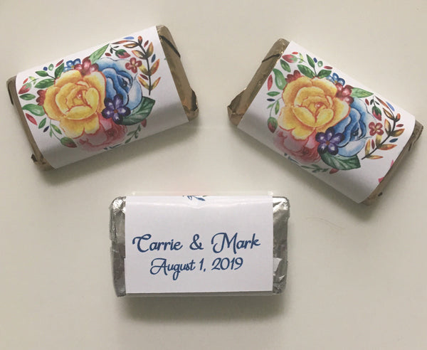 Floral Heart Mini Candy Wrappers - Cathy's Creations - www.candywrappershop.com