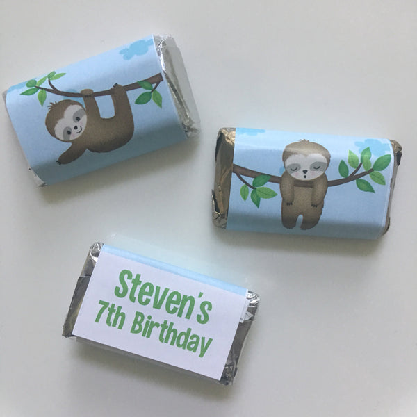 Sloth Mini Candy Wrappers - Cathy's Creations - www.candywrappershop.com