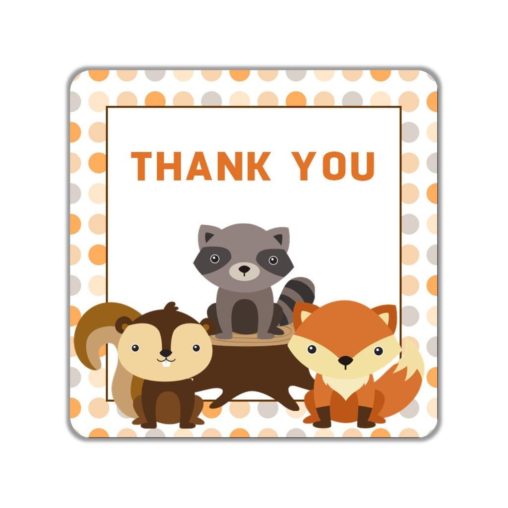 Woodland Creatures Party Favor Stickers OR Tags - Cathy's Creations - www.candywrappershop.com