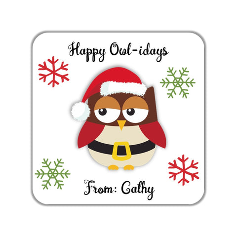 Christmas Owl Party Favor Stickers OR Tags - Cathy's Creations - www.candywrappershop.com
