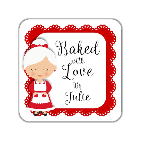 Christmas Mrs. Claus Baked with Love Gift Stickers OR Tags - Cathy's Creations - www.candywrappershop.com