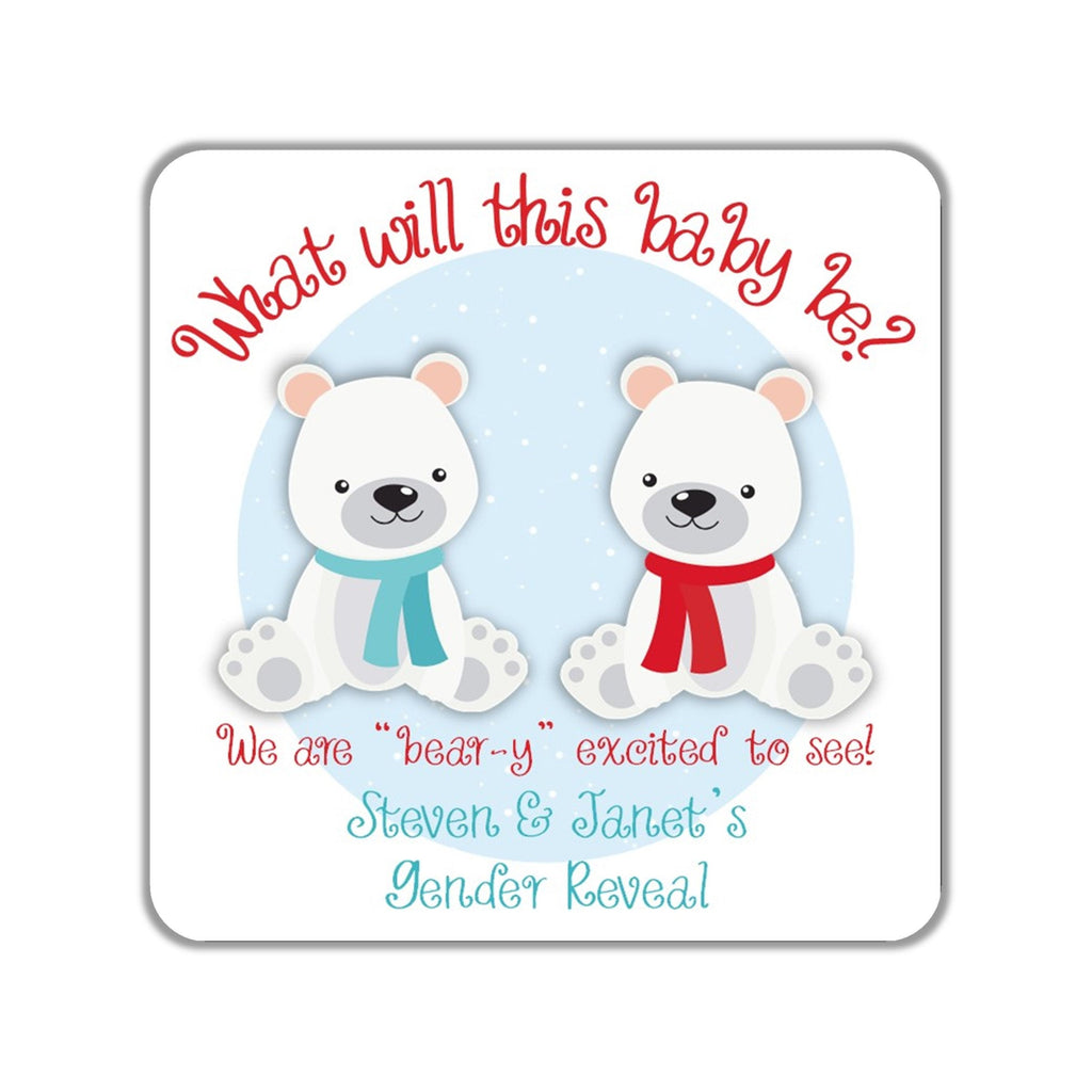 Gender Reveal Polar Bear Stickers OR Tags - Cathy's Creations - www.candywrappershop.com