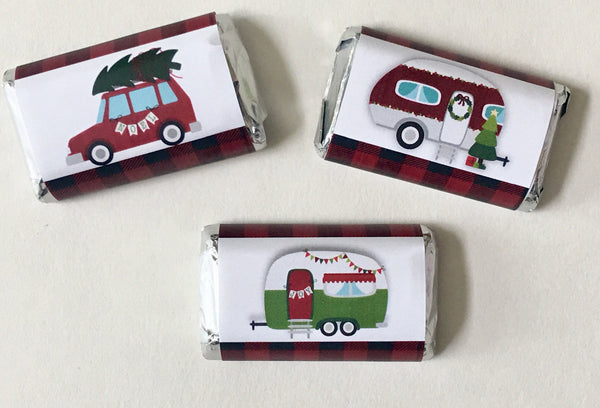 Christmas Camper Mini Candy Wrappers - Cathy's Creations - www.candywrappershop.com