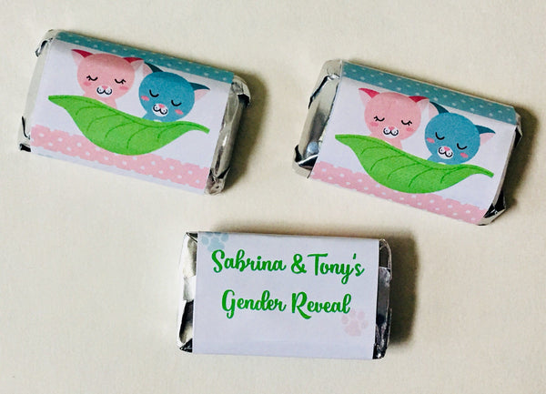 Kitten Gender Reveal Mini Candy Wrappers - Cathy's Creations - www.candywrappershop.com