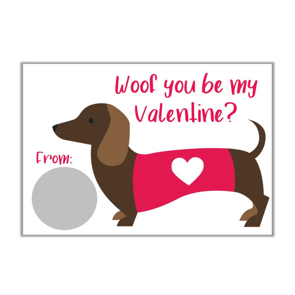 Dachshund Valentine's Day Scratch off Cards - Cathy's Creations - www.candywrappershop.com