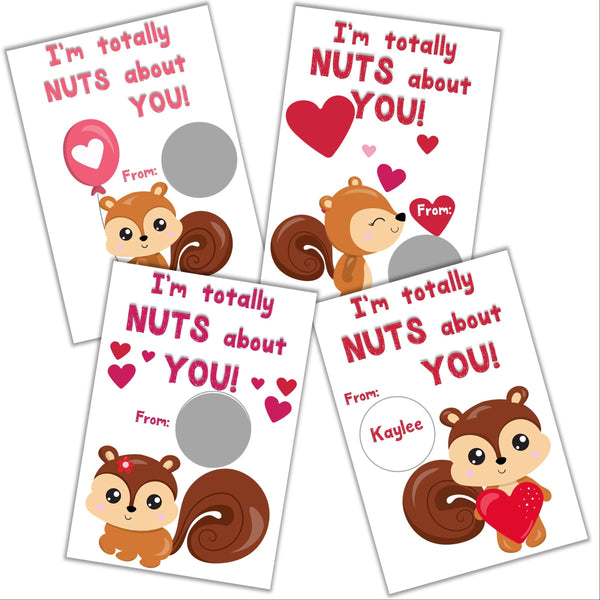 Squirrel Valentine's Day Scratch off Cards - Cathy's Creations - www.candywrappershop.com
