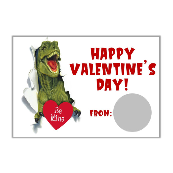 T-Rex Dinosaur Valentine's Day Scratch Off Cards - Cathy's Creations - www.candywrappershop.com