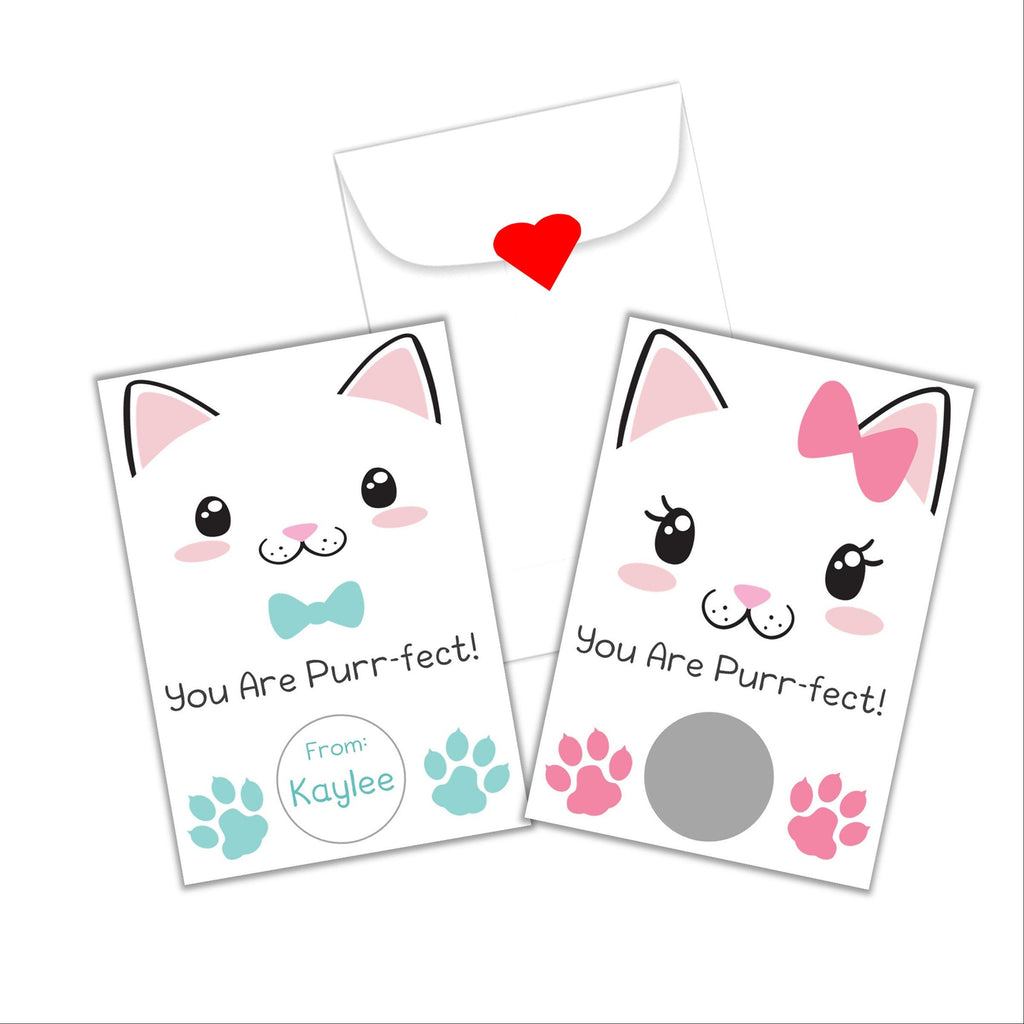 Cute Kitty Valentine's Day Scratch Off Cards - Cathy's Creations - www.candywrappershop.com