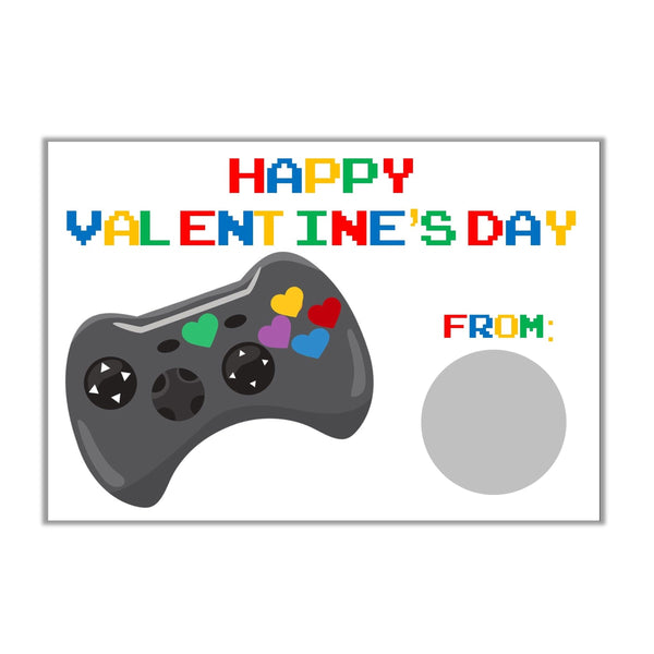 Video Game Valentine's Day Scratch Off Cards-Scratch Off Cards-Cathy's Creations - www.candywrappershop.com
