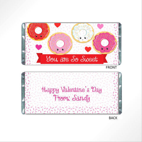 Valentine's Day Donut Cuties Candy Bar Wrapper - Cathy's Creations - www.candywrappershop.com