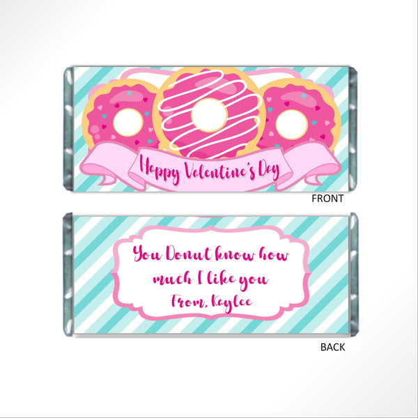 Donut Valentine's Day Candy Bar Wrapper - Cathy's Creations - www.candywrappershop.com