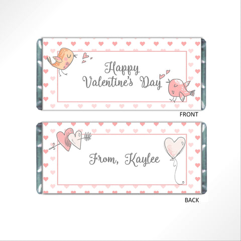 Valentine's Day Birds Candy Bar Wrapper - Cathy's Creations - www.candywrappershop.com