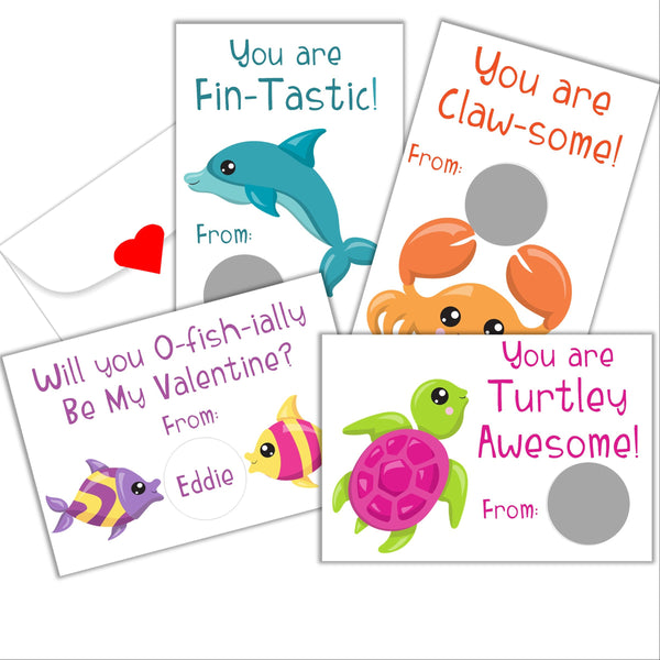 Under the Sea Valentine's Day Scratch off Cards - Cathy's Creations - www.candywrappershop.com