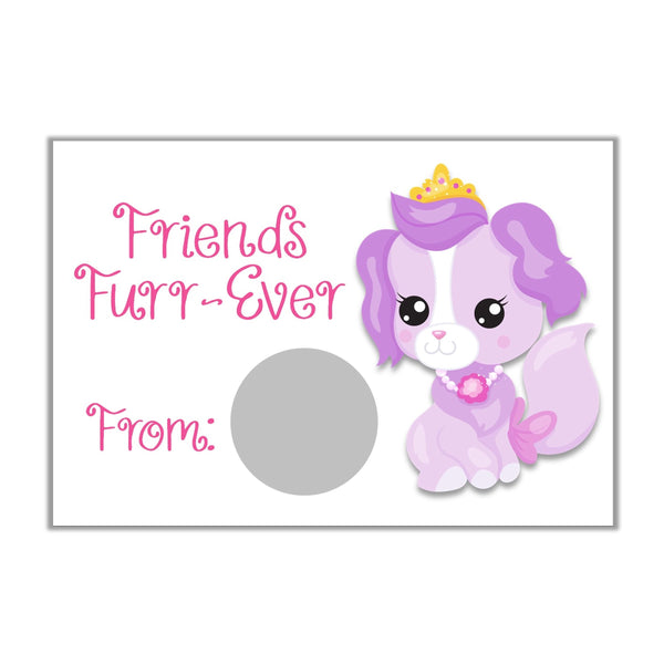 Princess Pet Theme Valentine's Day Scratch off Cards-Scratch Off Cards-Cathy's Creations - www.candywrappershop.com