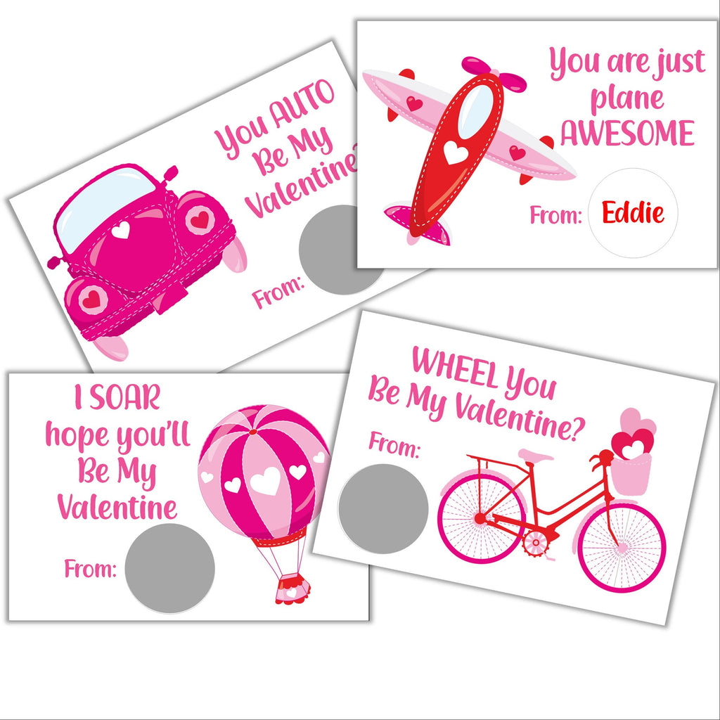 Transportation Theme Valentine's Day Scratch off Cards - Cathy's Creations - www.candywrappershop.com
