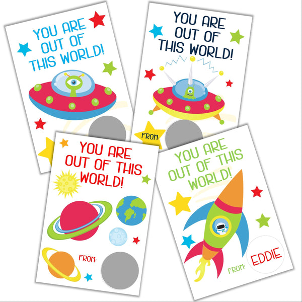 Outer Space Valentine's Day Scratch off Cards - Cathy's Creations - www.candywrappershop.com