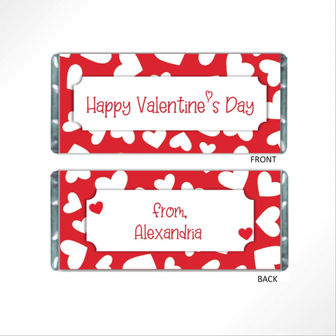 Valentine's Day Red Hearts Candy Bar Wrapper - Cathy's Creations - www.candywrappershop.com