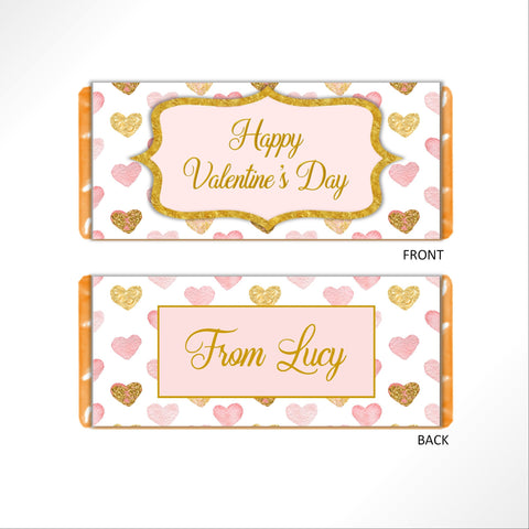 Valentine's Day Pink and Gold Candy Bar Wrapper - Cathy's Creations - www.candywrappershop.com