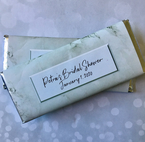 White Marble Candy Bar Wrapper - Cathy's Creations - www.candywrappershop.com