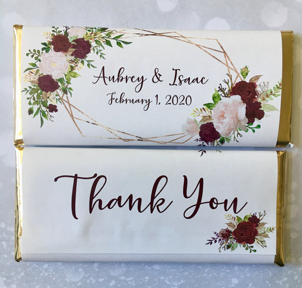 Wedding Floral Geometric Candy Bar Wrapper - Cathy's Creations - www.candywrappershop.com