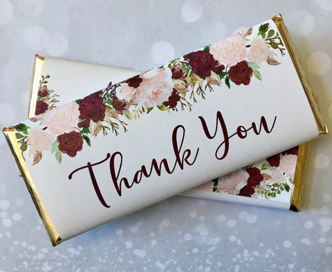 Wedding Floral Thank You Candy Wrappers Candy Bar Wrapper- Cathy's Creations - www.candywrappershop.com